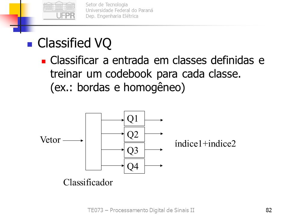 Setor de Tecnologia Universidade Federal do Paraná Dep. Engenharia Elétrica TE073 – Processamento Digital de Sinais II81