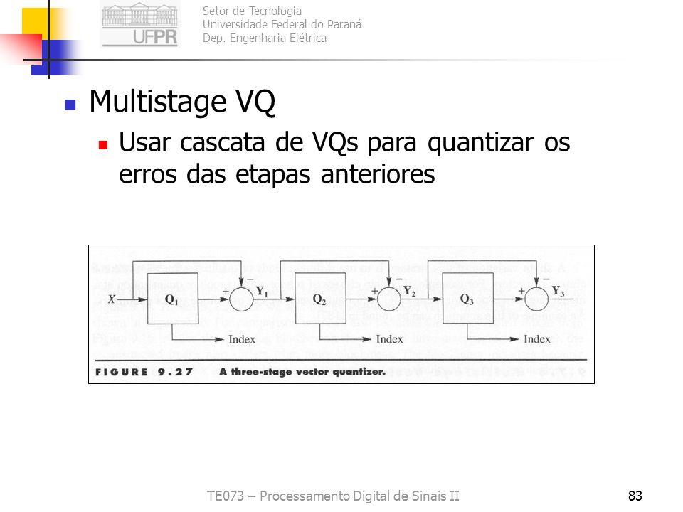 Setor de Tecnologia Universidade Federal do Paraná Dep. Engenharia Elétrica TE073 – Processamento Digital de Sinais II82 Classified VQ Classificar a e