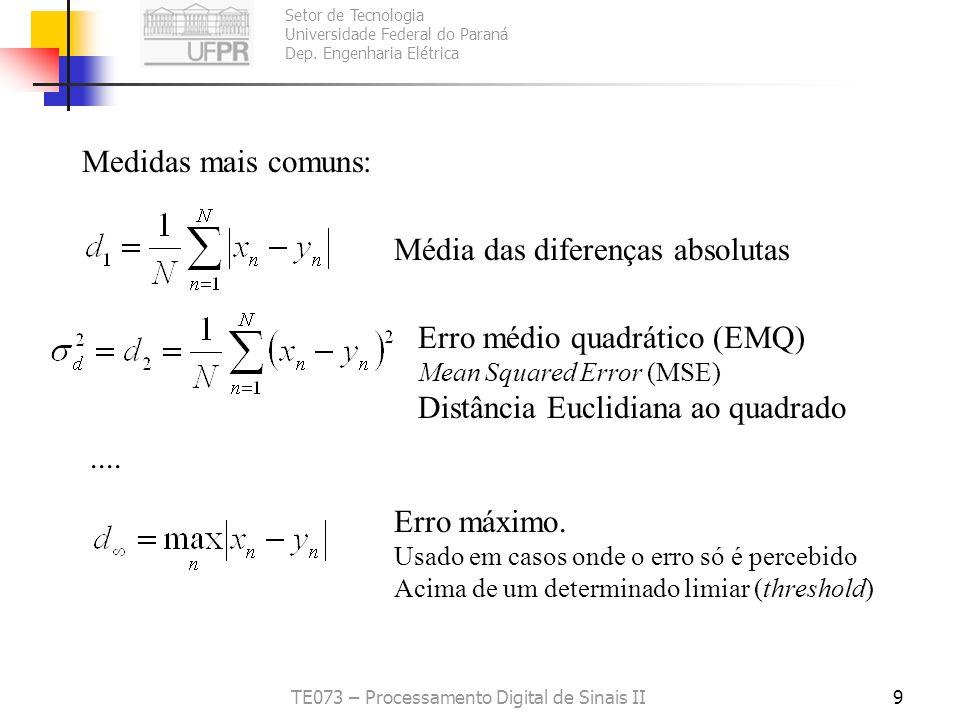 Setor de Tecnologia Universidade Federal do Paraná Dep. Engenharia Elétrica TE073 – Processamento Digital de Sinais II8 Medidas objetivas da distorção