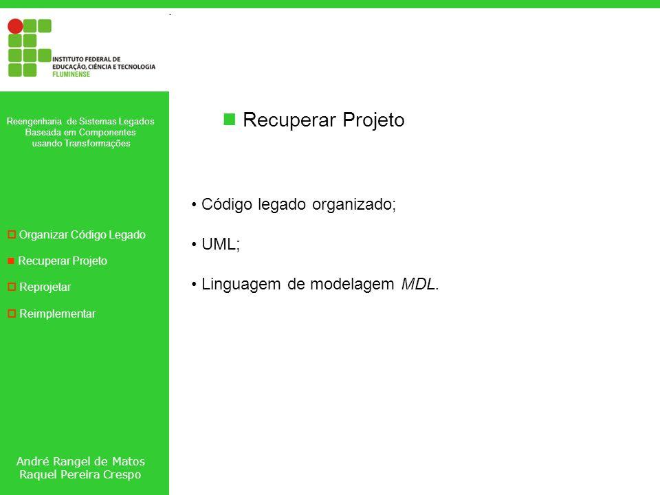 André Rangel de Matos Raquel Pereira Crespo Reengenharia de Sistemas Legados Baseada em Componentes usando Transformações Organizar Código Legado Recuperar Projeto Reprojetar Reimplementar Recuperar Projeto Código legado organizado; UML; Linguagem de modelagem MDL.