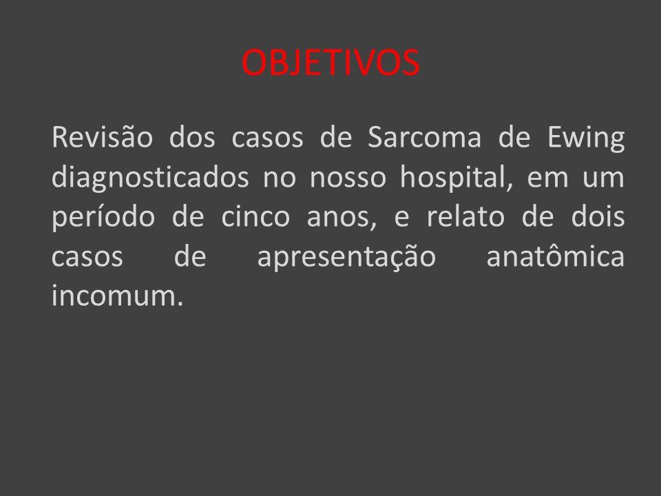 OBJETIVOS Revisão dos casos de Sarcoma de Ewing diagnosticados no nosso hospital, em um período de cinco anos, e relato de dois casos de apresentação