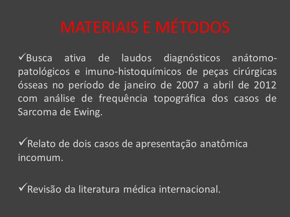 MATERIAIS E MÉTODOS Busca ativa de laudos diagnósticos anátomo- patológicos e imuno-histoquímicos de peças cirúrgicas ósseas no período de janeiro de