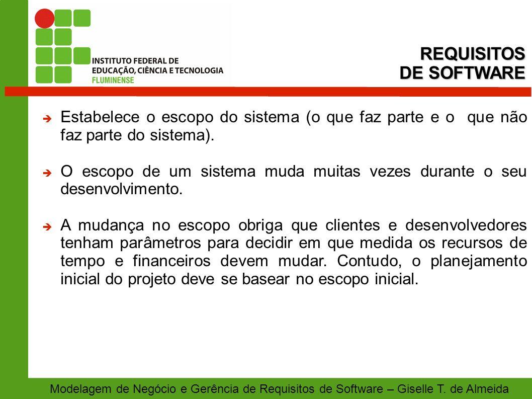 Modelagem de Negócio e Gerência de Requisitos de Software – Giselle T. de Almeida Estabelece o escopo do sistema (o que faz parte e o que não faz part