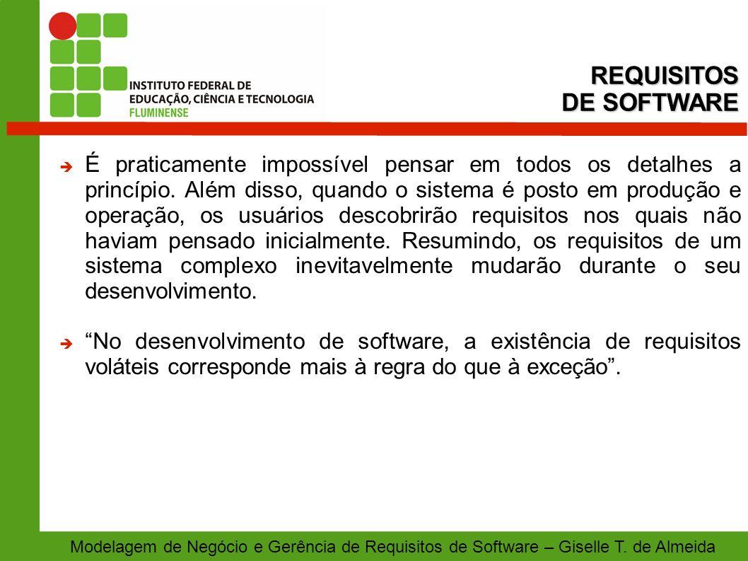 Modelagem de Negócio e Gerência de Requisitos de Software – Giselle T. de Almeida É praticamente impossível pensar em todos os detalhes a princípio. A