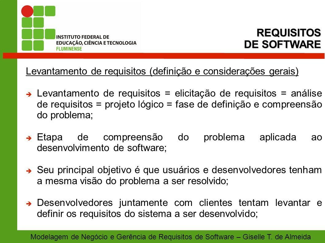 Modelagem de Negócio e Gerência de Requisitos de Software – Giselle T. de Almeida Levantamento de requisitos (definição e considerações gerais) Levant