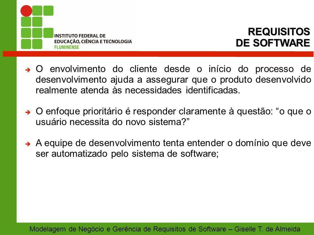Modelagem de Negócio e Gerência de Requisitos de Software – Giselle T. de Almeida O envolvimento do cliente desde o início do processo de desenvolvime