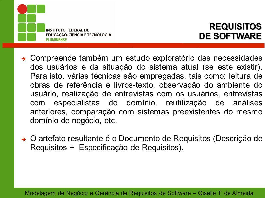 Modelagem de Negócio e Gerência de Requisitos de Software – Giselle T. de Almeida Compreende também um estudo exploratório das necessidades dos usuári