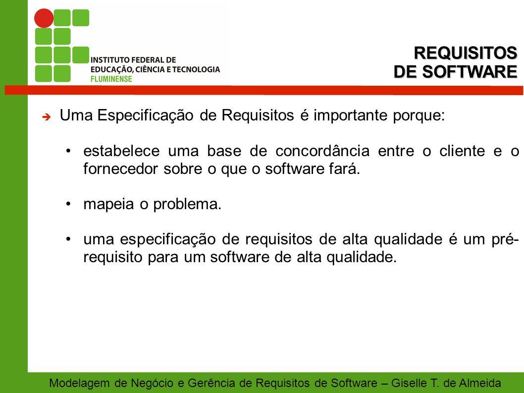 Modelagem de Negócio e Gerência de Requisitos de Software – Giselle T. de Almeida Uma Especificação de Requisitos é importante porque: estabelece uma