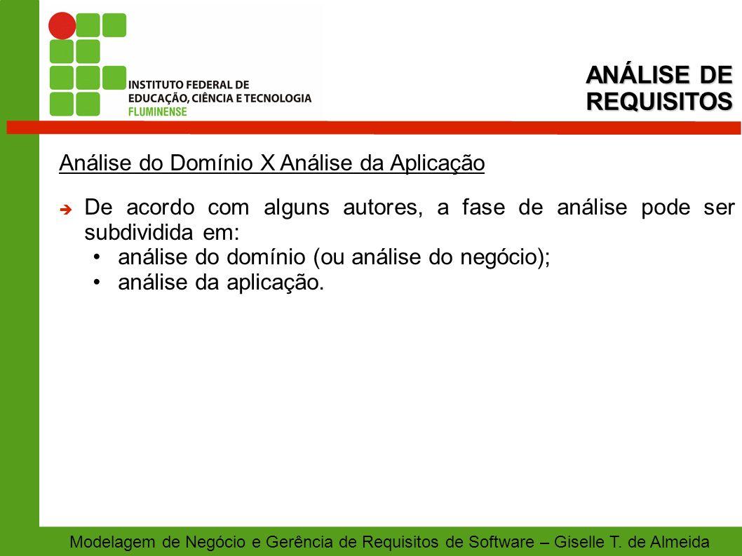 Modelagem de Negócio e Gerência de Requisitos de Software – Giselle T. de Almeida Análise do Domínio X Análise da Aplicação De acordo com alguns autor
