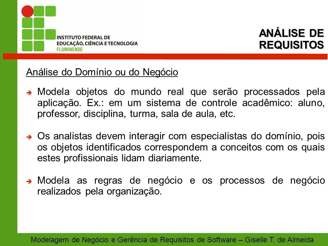 Modelagem de Negócio e Gerência de Requisitos de Software – Giselle T. de Almeida Análise do Domínio ou do Negócio Modela objetos do mundo real que se