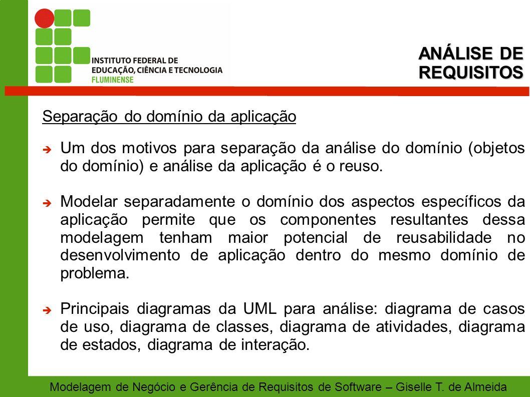 Modelagem de Negócio e Gerência de Requisitos de Software – Giselle T. de Almeida Separação do domínio da aplicação Um dos motivos para separação da a