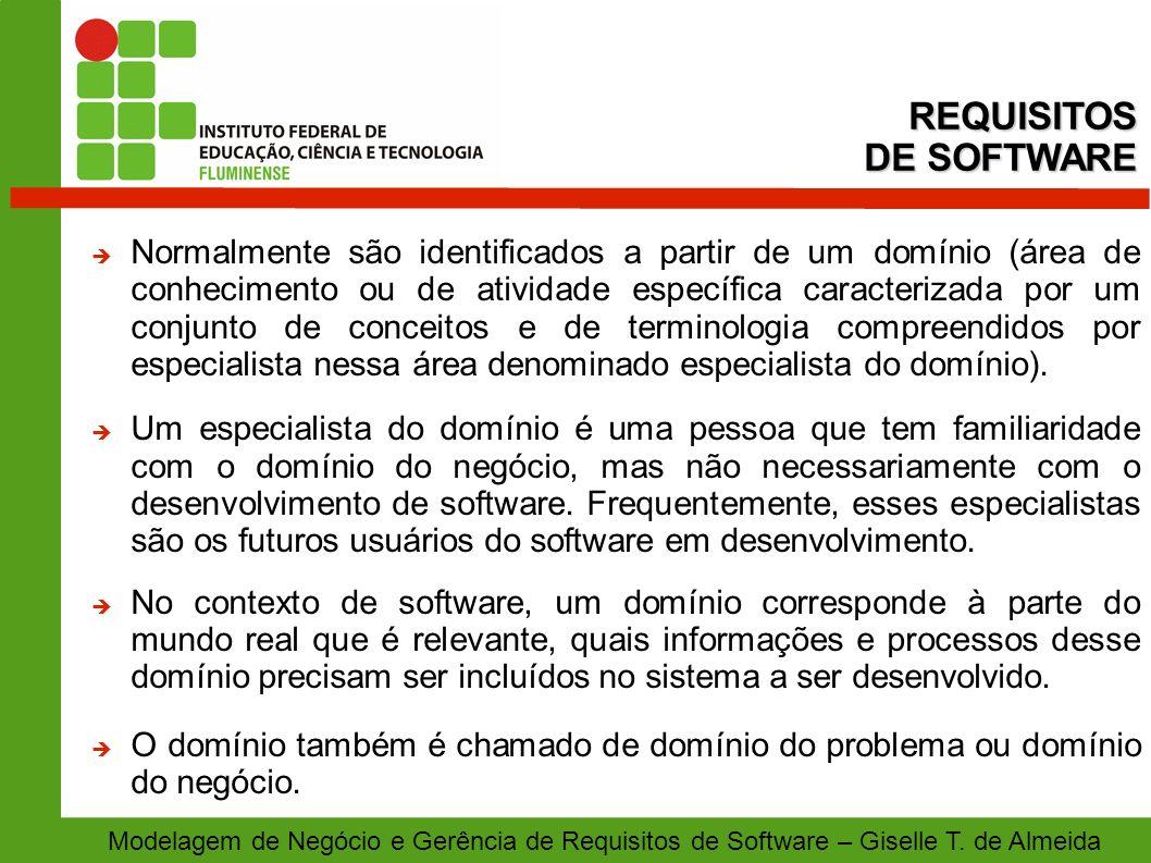 Modelagem de Negócio e Gerência de Requisitos de Software – Giselle T. de Almeida Normalmente são identificados a partir de um domínio (área de conhec