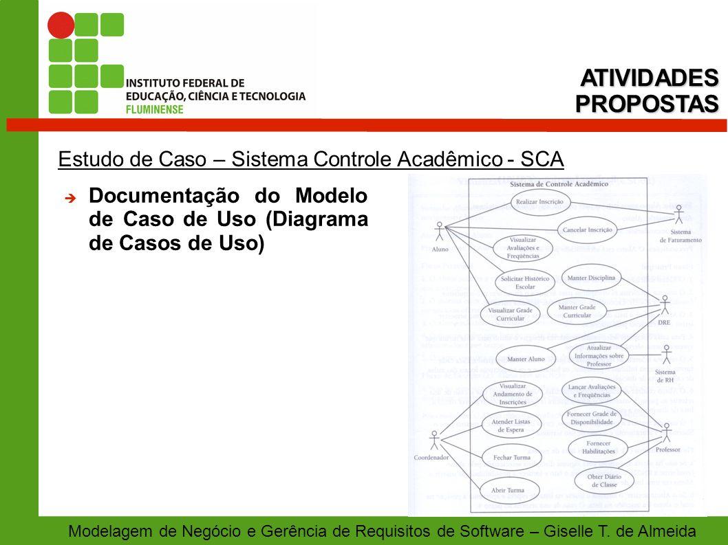 Modelagem de Negócio e Gerência de Requisitos de Software – Giselle T. de Almeida Estudo de Caso – Sistema Controle Acadêmico - SCA ATIVIDADESPROPOSTA