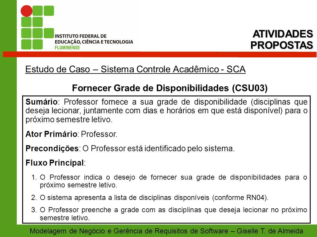 Modelagem de Negócio e Gerência de Requisitos de Software – Giselle T. de Almeida Estudo de Caso – Sistema Controle Acadêmico - SCA Fornecer Grade de
