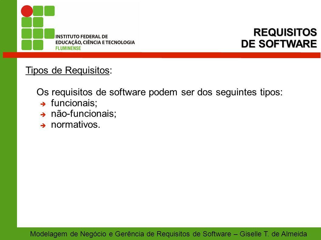 Modelagem de Negócio e Gerência de Requisitos de Software – Giselle T. de Almeida Tipos de Requisitos: Os requisitos de software podem ser dos seguint