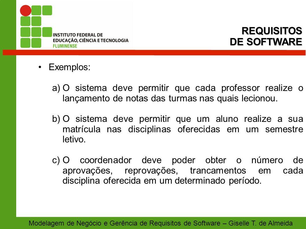 Modelagem de Negócio e Gerência de Requisitos de Software – Giselle T. de Almeida Exemplos: a)O sistema deve permitir que cada professor realize o lan