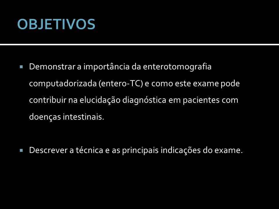 Foi realizada busca na literatura na base de dados Pubmed, pelos termos CT enterography, enterography, CT enteroclysis e selecionados artigos com ênfase na aplicação da enterografia por tomografia computadorizada em doenças do intestino delgado.