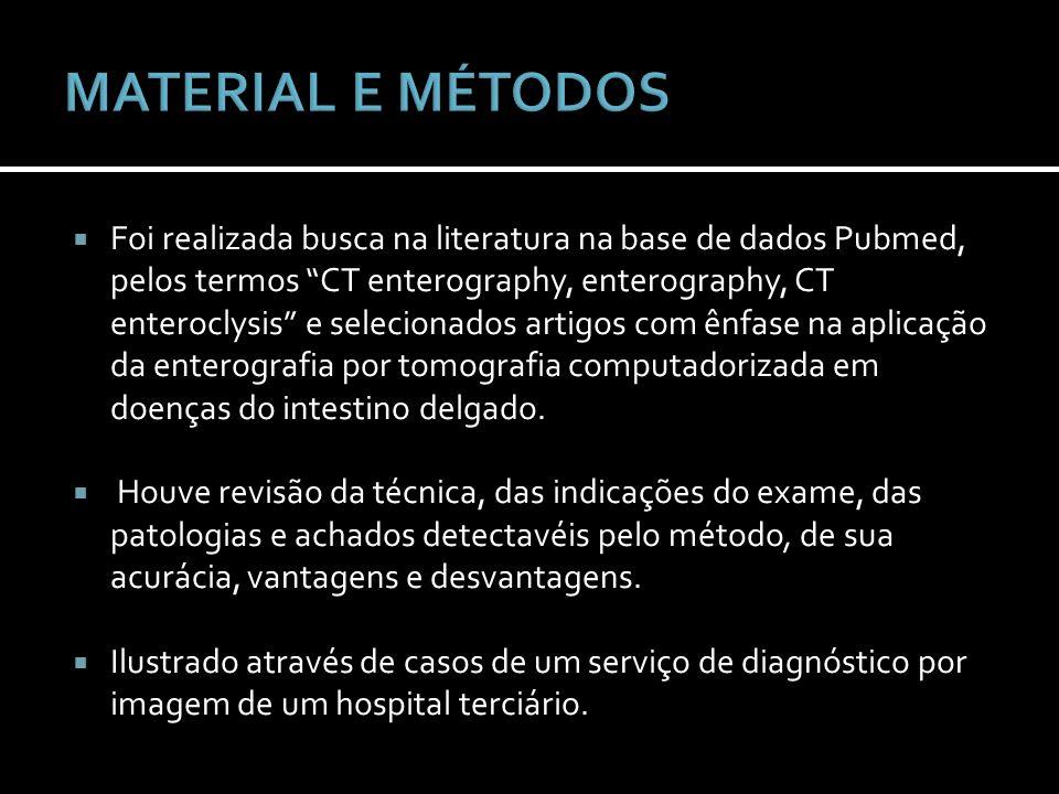 Foi realizada busca na literatura na base de dados Pubmed, pelos termos CT enterography, enterography, CT enteroclysis e selecionados artigos com ênfa