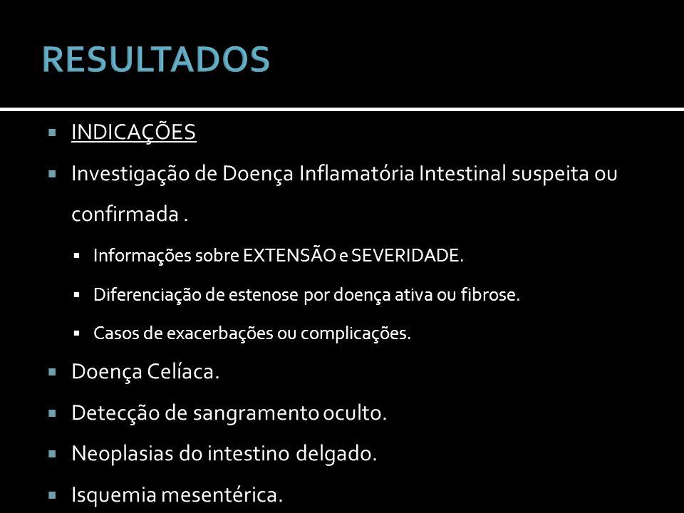 INDICAÇÕES Investigação de Doença Inflamatória Intestinal suspeita ou confirmada. Informações sobre EXTENSÃO e SEVERIDADE. Diferenciação de estenose p