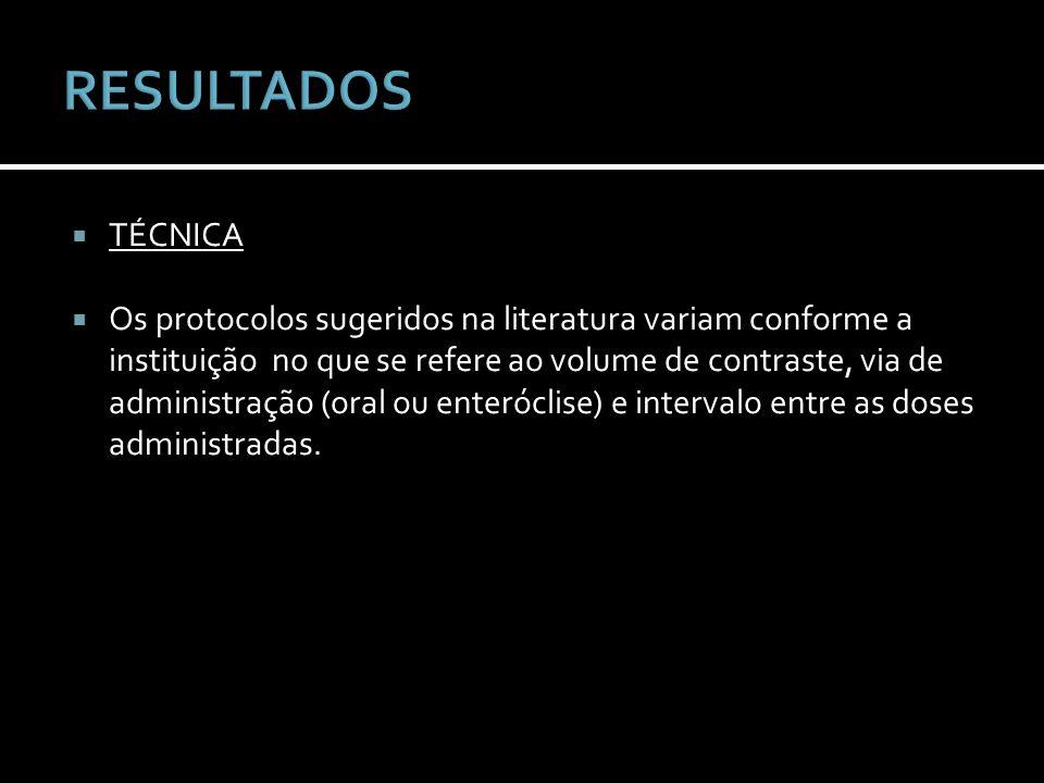 TÉCNICA Os protocolos sugeridos na literatura variam conforme a instituição no que se refere ao volume de contraste, via de administração (oral ou ent