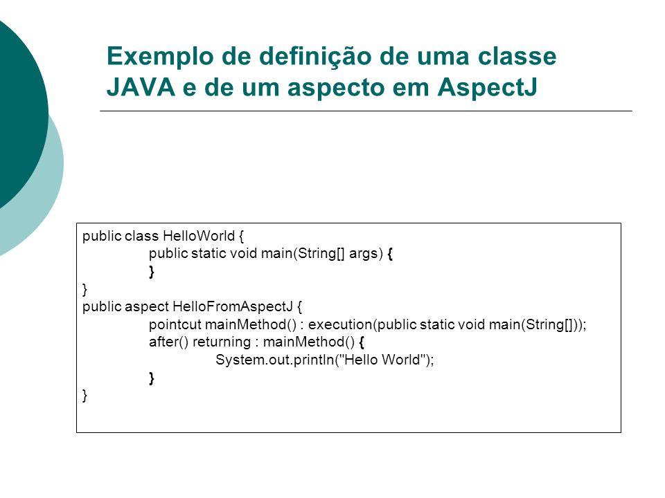 Exemplo de definição de uma classe JAVA e de um aspecto em AspectJ public class HelloWorld { public static void main(String[] args) { } public aspect