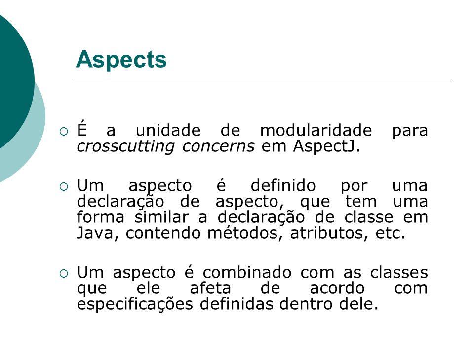 Aspects É a unidade de modularidade para crosscutting concerns em AspectJ. Um aspecto é definido por uma declaração de aspecto, que tem uma forma simi