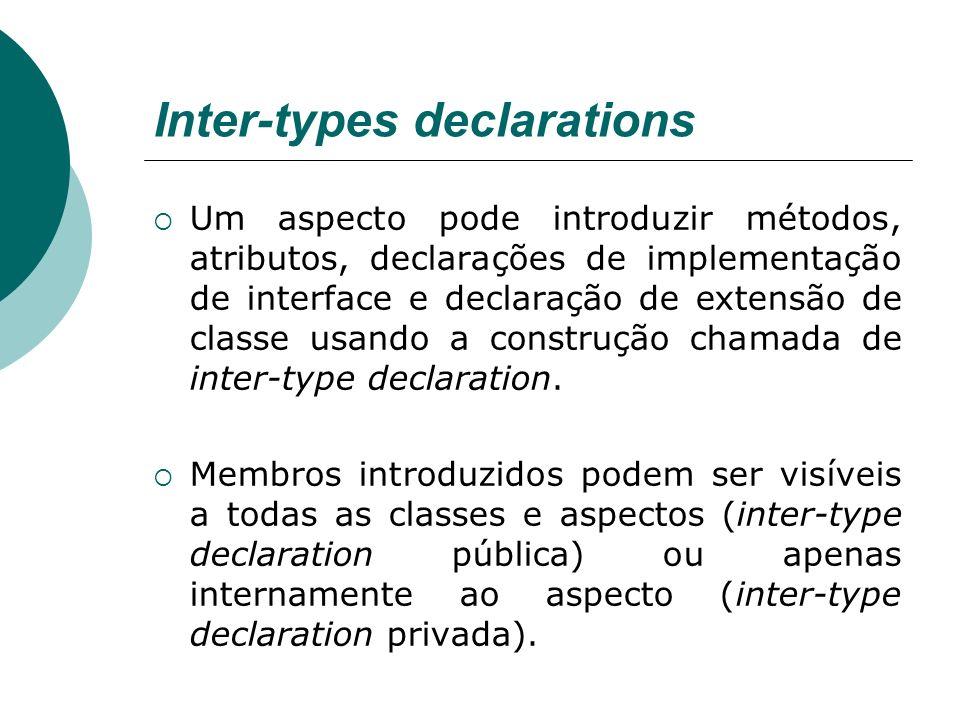 Inter-types declarations Um aspecto pode introduzir métodos, atributos, declarações de implementação de interface e declaração de extensão de classe u