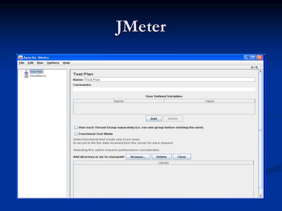 JMeter No TextPlan são definidos os parâmetros ou comportamentos comuns a todos os testes No TextPlan são definidos os parâmetros ou comportamentos comuns a todos os testes O ThreadGroup representa os usuários virtuais que simulam a navegação do seu site ou aplicação WEB.