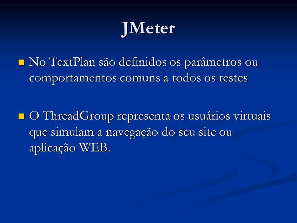 JMeter Campos do ThreadGroup Campos do ThreadGroup Number of Threads : número de usuários virtuais Number of Threads : número de usuários virtuais Ramp-Up Period: frequência/tempo de lançamento dos usuários virtuais Ramp-Up Period: frequência/tempo de lançamento dos usuários virtuais Loop Count: quantas vezes o teste será repetido Loop Count: quantas vezes o teste será repetido Scheduler Configuration: configura um cronograma de execução por meio da seção Schedule Configuration Scheduler Configuration: configura um cronograma de execução por meio da seção Schedule Configuration