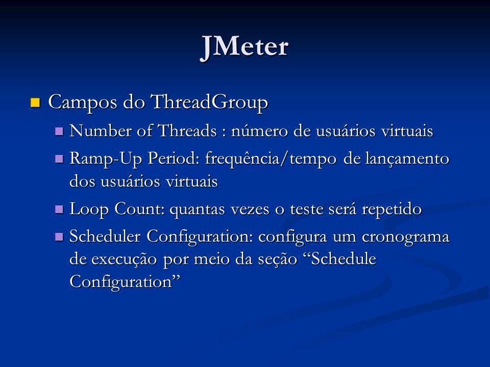 JMeter Campos do ThreadGroup Campos do ThreadGroup Number of Threads : número de usuários virtuais Number of Threads : número de usuários virtuais Ram
