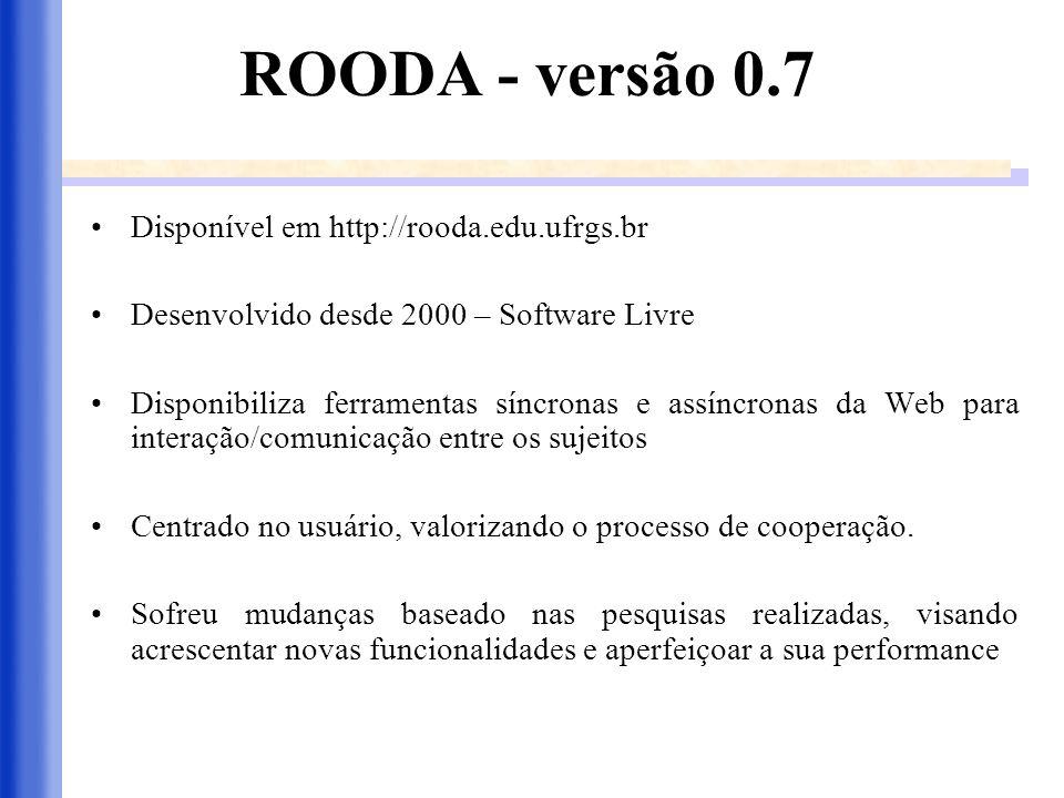 ROODA - versão 0.7 Disponível em http://rooda.edu.ufrgs.br Desenvolvido desde 2000 – Software Livre Disponibiliza ferramentas síncronas e assíncronas