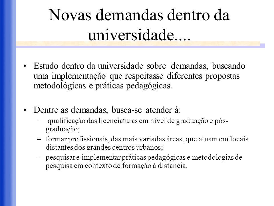 Novas demandas dentro da universidade.... Estudo dentro da universidade sobre demandas, buscando uma implementação que respeitasse diferentes proposta