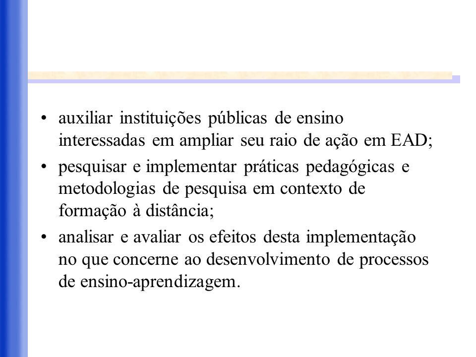 auxiliar instituições públicas de ensino interessadas em ampliar seu raio de ação em EAD; pesquisar e implementar práticas pedagógicas e metodologias
