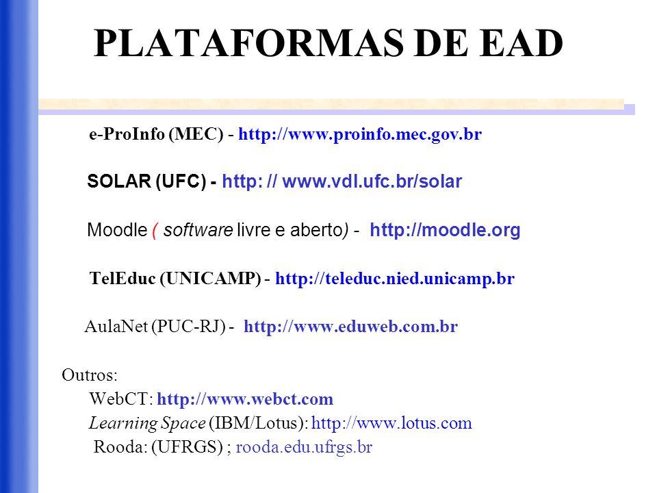PLATAFORMAS DE EAD e-ProInfo (MEC) - http://www.proinfo.mec.gov.br SOLAR (UFC) - http: // www.vdl.ufc.br/solar Moodle ( software livre e aberto) - htt