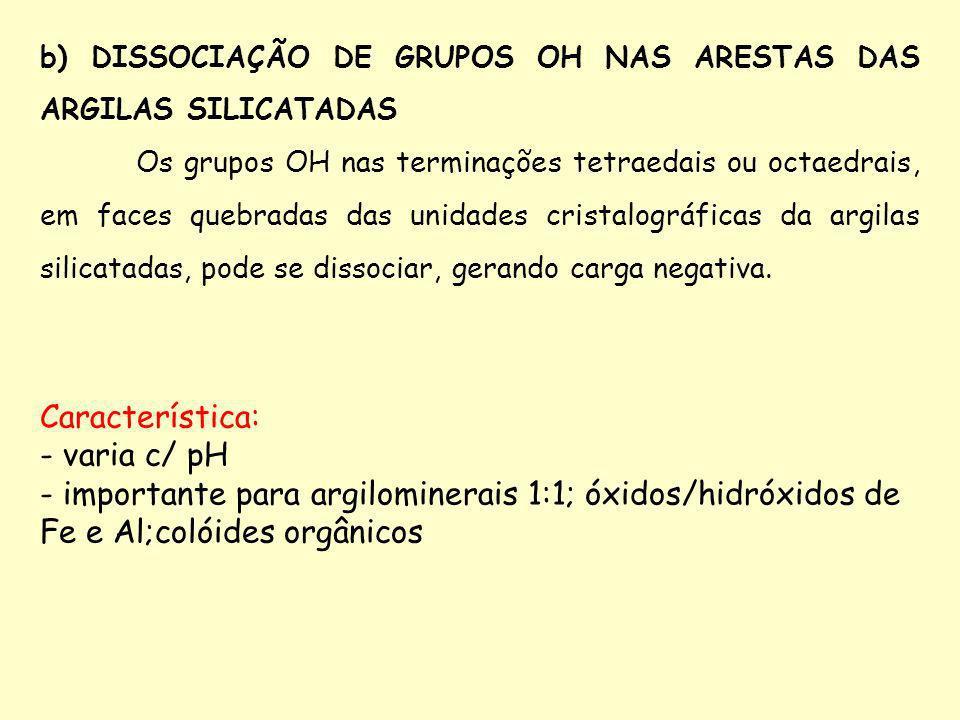 b) DISSOCIAÇÃO DE GRUPOS OH NAS ARESTAS DAS ARGILAS SILICATADAS Os grupos OH nas terminações tetraedais ou octaedrais, em faces quebradas das unidades