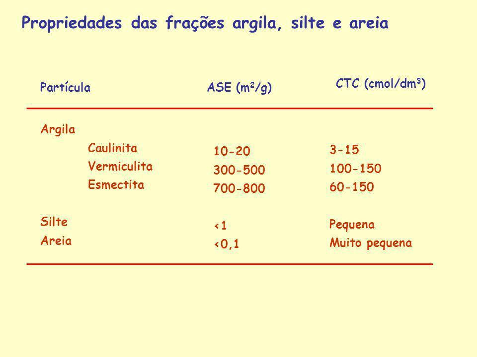 Partícula ASE (m 2 /g) CTC (cmol/dm 3 ) Argila Caulinita Vermiculita Esmectita Silte Areia 10-20 300-500 700-800 <1 <0,1 3-15 100-150 60-150 Pequena M