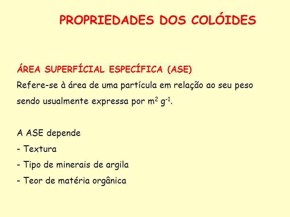 PROPRIEDADES DOS COLÓIDES ÁREA SUPERFÍCIAL ESPECÍFICA (ASE) Refere-se à área de uma partícula em relação ao seu peso sendo usualmente expressa por m 2