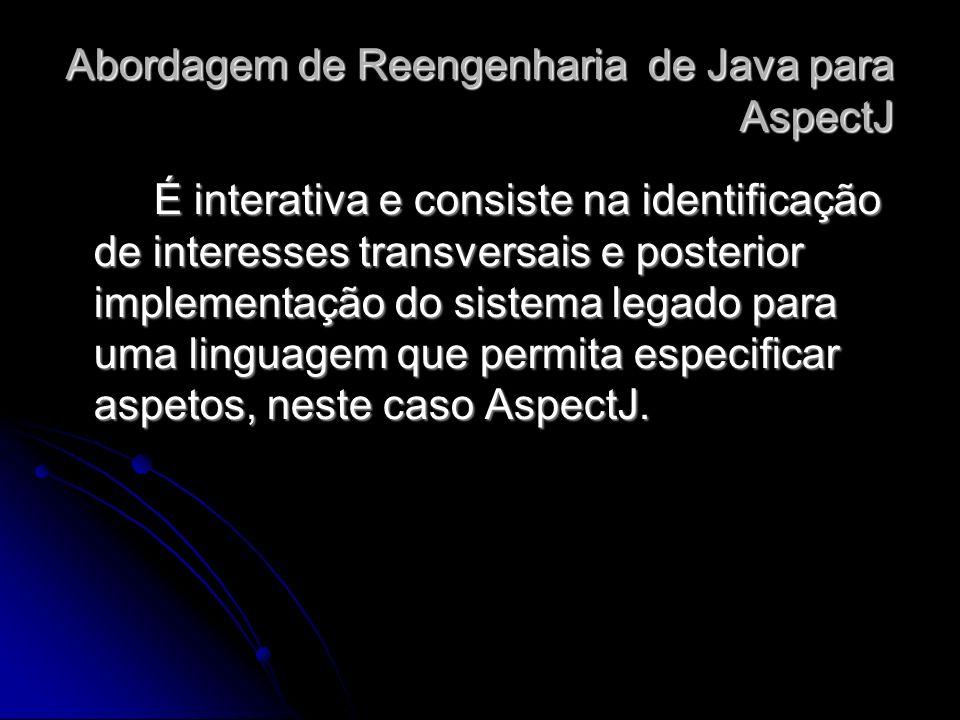 É interativa e consiste na identificação de interesses transversais e posterior implementação do sistema legado para uma linguagem que permita especif