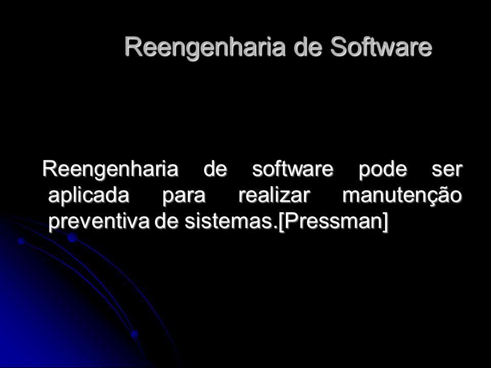 Reengenharia de software pode ser aplicada para realizar manutenção preventiva de sistemas.[Pressman] Reengenharia de software pode ser aplicada para realizar manutenção preventiva de sistemas.[Pressman] Reengenharia de Software Reengenharia de Software