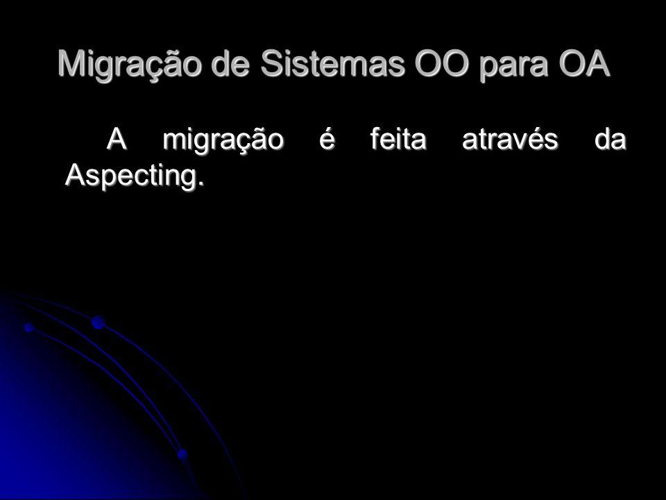 A migração é feita através da Aspecting. Migração de Sistemas OO para OA