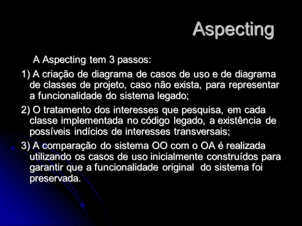 Aspecting Aspecting A Aspecting tem 3 passos: 1) A criação de diagrama de casos de uso e de diagrama de classes de projeto, caso não exista, para repr