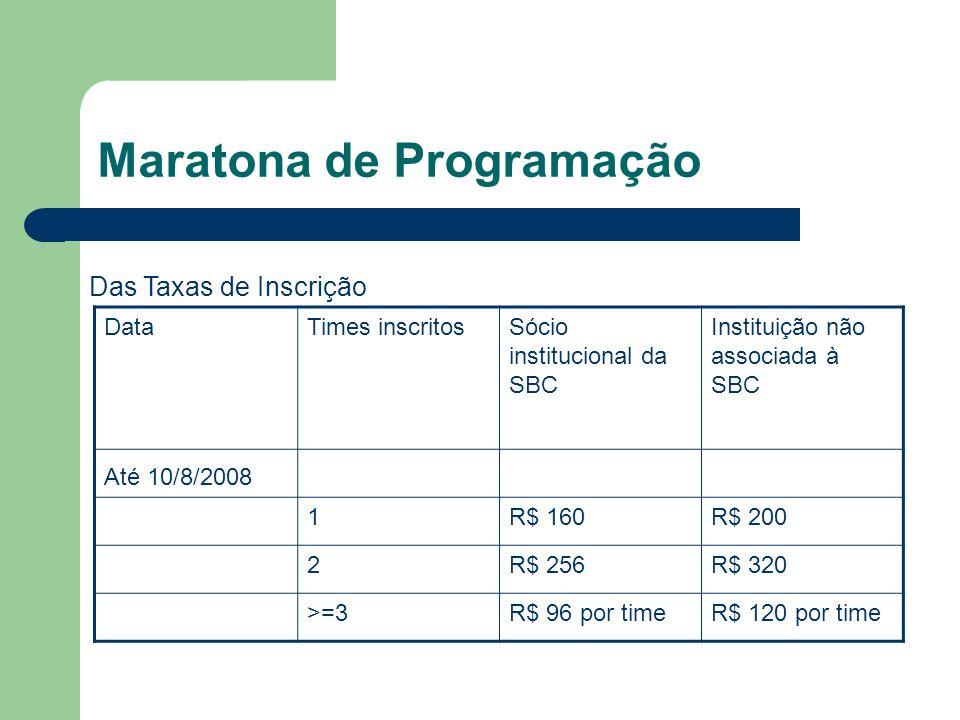 Maratona de Programação DataTimes inscritosSócio institucional da SBC Instituição não associada à SBC Até 10/8/2008 1R$ 160R$ 200 2R$ 256R$ 320 >=3R$