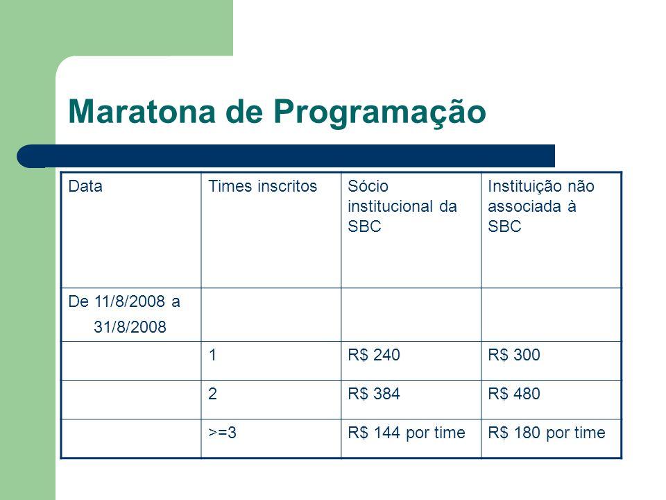 Maratona de Programação DataTimes inscritosSócio institucional da SBC Instituição não associada à SBC De 11/8/2008 a 31/8/2008 1R$ 240R$ 300 2R$ 384R$