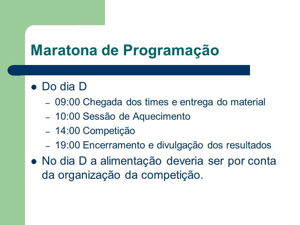 Maratona de Programação Do dia D – 09:00 Chegada dos times e entrega do material – 10:00 Sessão de Aquecimento – 14:00 Competição – 19:00 Encerramento