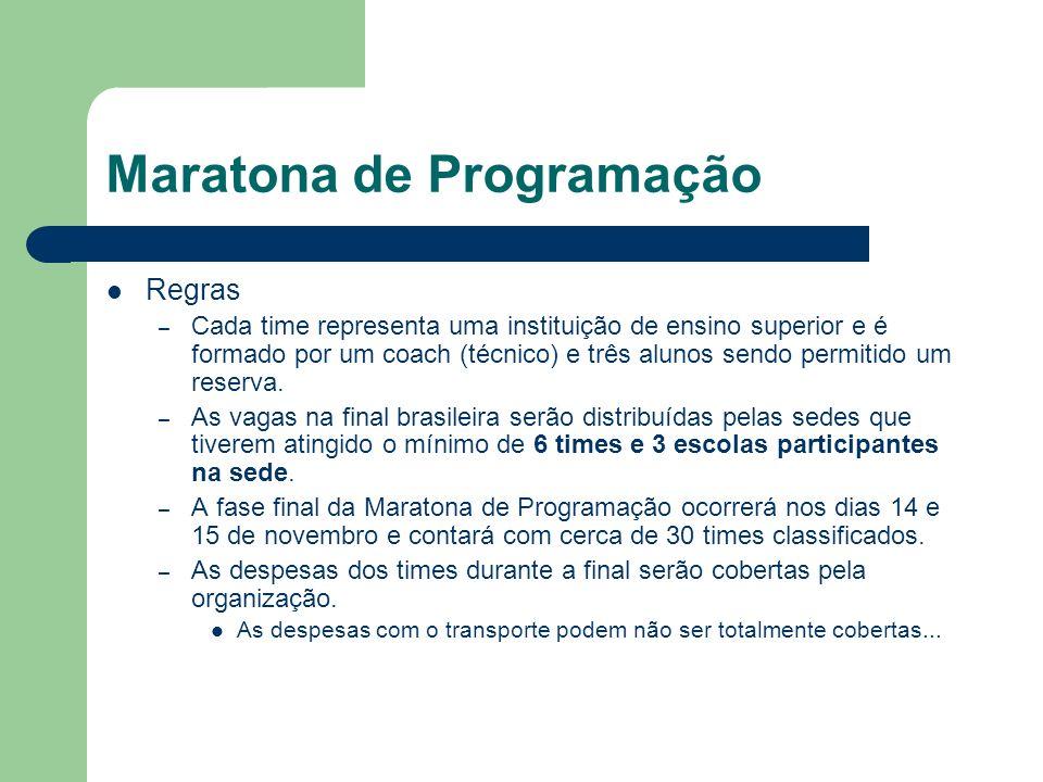 Maratona de Programação Regras – Cada time representa uma instituição de ensino superior e é formado por um coach (técnico) e três alunos sendo permit