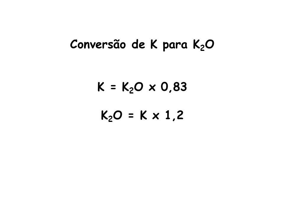 Ex.: Converter 20 kg K para K 2 O Ex.: Converter 150 kg de K 2 O para K.
