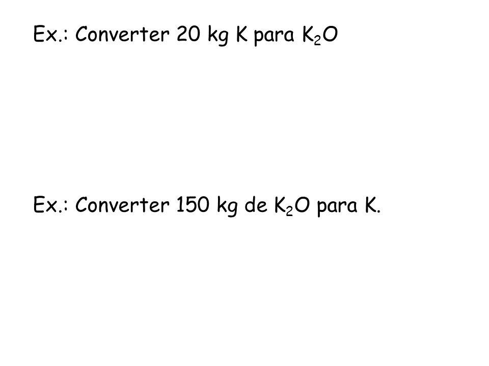 Fonte de fertilizantes potássicos Cloreto de potássio (KCl) Solúvel e contém 60 % de K 2 O.