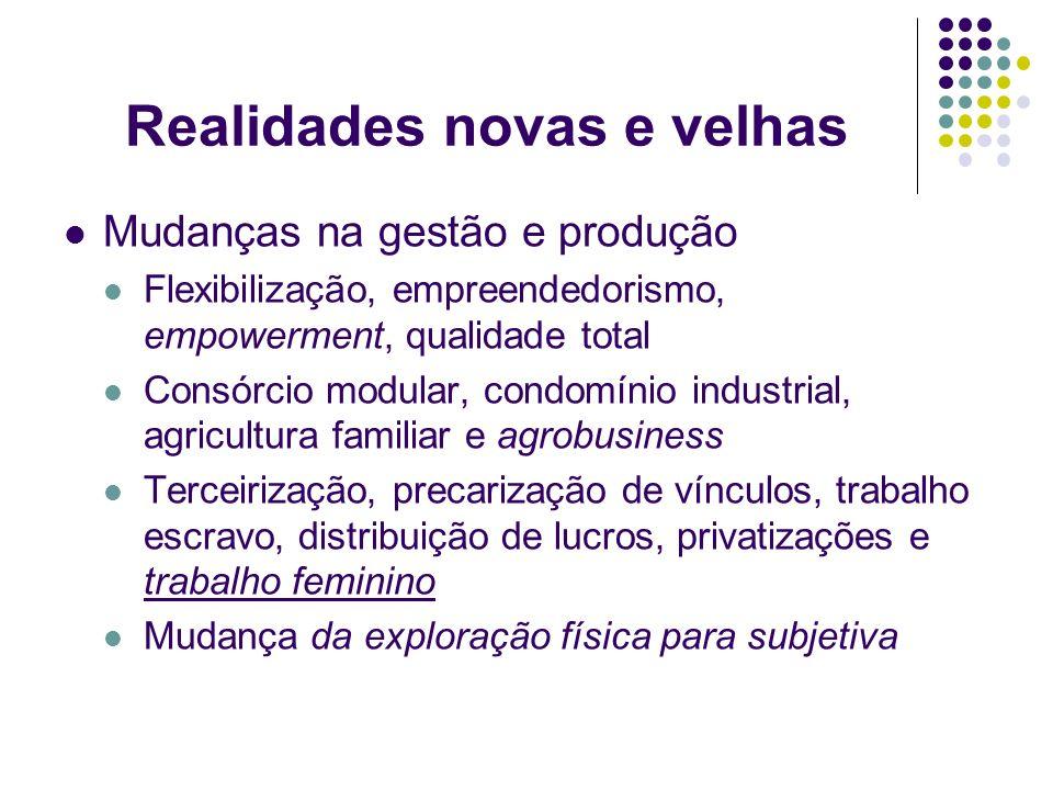 Realidades novas e velhas Mudanças na gestão e produção Flexibilização, empreendedorismo, empowerment, qualidade total Consórcio modular, condomínio i