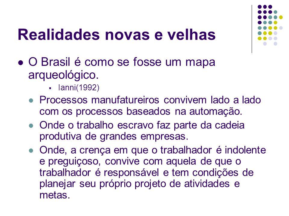 Realidades novas e velhas O Brasil é como se fosse um mapa arqueológico. Ianni(1992) Processos manufatureiros convivem lado a lado com os processos ba