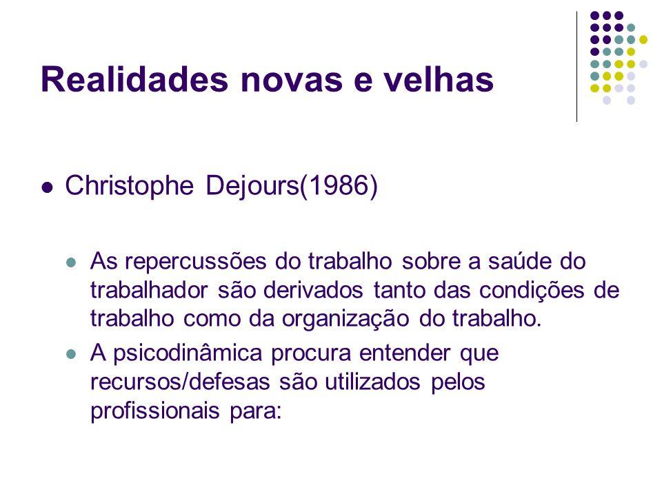 Realidades novas e velhas Christophe Dejours(1986) As repercussões do trabalho sobre a saúde do trabalhador são derivados tanto das condições de traba